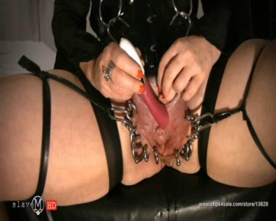SlaveM  / clip4sale - Chubby babe in black corset tortured her pussy cover