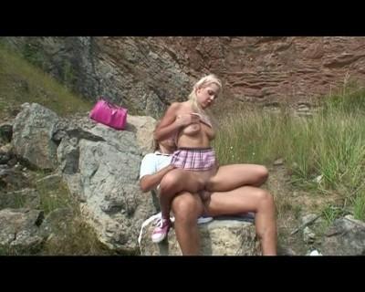 Blond virgin fucks outdoors