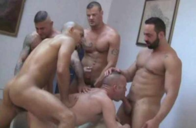 Giant dicks in orgy with creamy loads