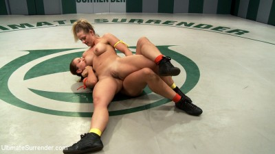 Blond Fitness model & gorgeous brunette battle it out on the mat. Loser gets fucked, must lick pussy cover