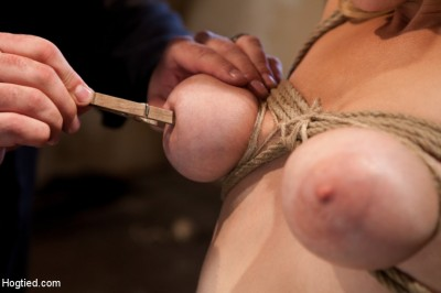 Hot blond has clothespins flogged off her breasts, fucked with a stick, vibrated and made to cum!