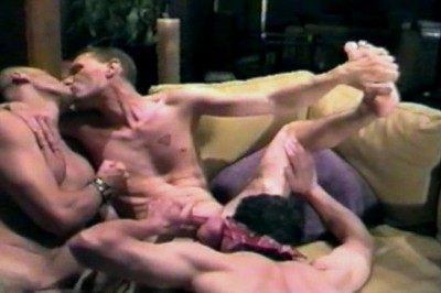 Three Blindfolded Studs In Cocksucking And Ass Munching Orgy