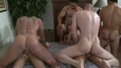Nine horny men in raw gangbang