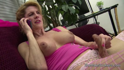 TS Delia DeLions - Leggy Blonde Tranny Cums on her Tummy!