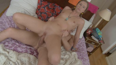 Horny blonde warms up her pussy before she gets nailed hard