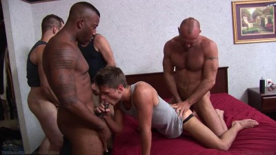 Tight asshole in gangbang