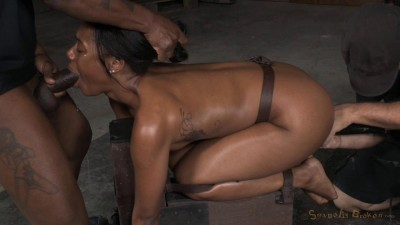 Chanell Heart bound doggystyle and fucked hard from both ends
